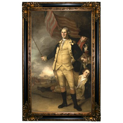 'George Washington at the Battle of Princeton 1784' Framed Oil Painting Print on Canvas Format: Chocolate Framed, Size: 37.25