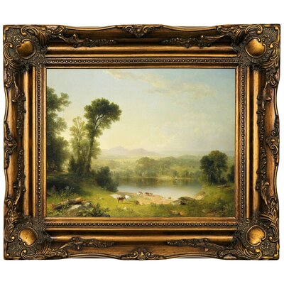 'Pastoral Landscape 1861' Framed Oil Painting Print on Canvas Format: Dark Gold Framed, Size: 16.5