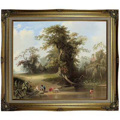 'Landscape - Rural Scene 1845' Framed Oil Painting Print on Canvas Format: Gray/Gold Framed, Size: 25.25