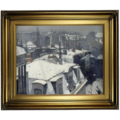 'Rooftops in the Snow (snow effect) 1878' Framed Oil Painting Print on Canvas Format: Light Gold Framed, Size: 22