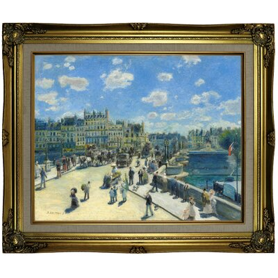 'Pont Neuf; Paris 1872' by Pierre-Auguste Renoir Framed Oil Painting Print on Canvas Format: Brown/Gold Framed, Size: 21.25