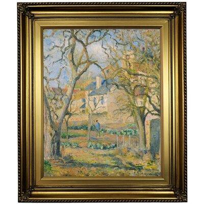'Vegetable Garden 1878' by Camille Pissarro Framed Oil Painting Print on Cavas Format: Light Gold Framed, Size: 26