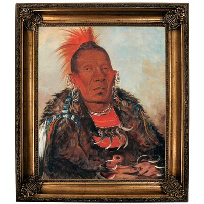 'Wah-ro-noe-sah, the Surrounder, Chief of the Tribe 1832' Framed Oil Painting Print on Canvas Format: Dark Gold Framed, Size: 30.25'' H x 26.25'' W x 2.75'' D