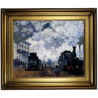 'Station Saint Lazare in Paris' by Claude Monet Framed Oil Painting Print on Canvas Format: Light Gold Framed, Size: 22