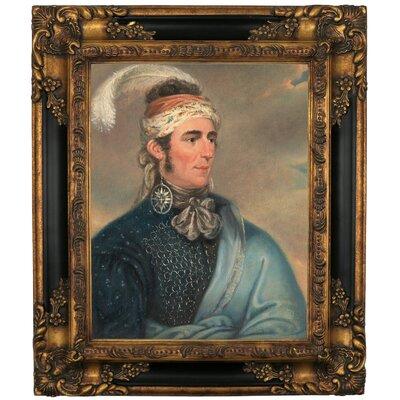 'Portrait of Major John Norton as Mohawk Chief Teyoninhokarawen' Framed Oil Painting Print on Canvas Format: Black Gold Framed, Size: 19.25
