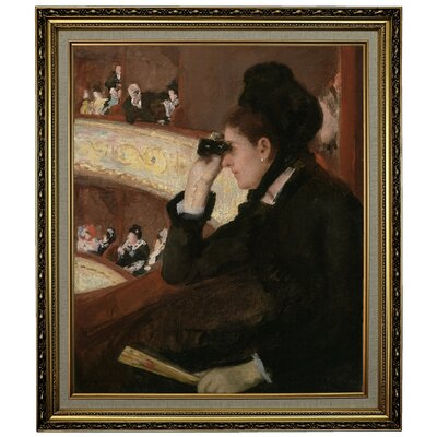 'In the Loge 1878' by Mary Cassatt Framed Oil Painting Print on Canvas Format: Yellow Framed, Size: 28.15