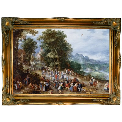 'Flemish Fair 1600' Framed Oil Painting Print on Canvas Format: Bronze Framed, Size: 24.5