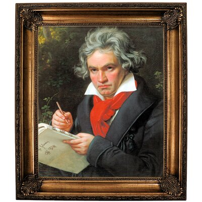 'Portrait of Ludwig van Beethoven When Composing the Missa Solemnis' Framed Oil Painting Print on Canvas Format: Bronze Framed, Size: 30.25