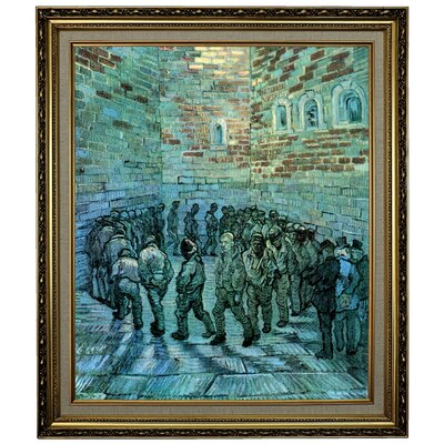 'Prisoners Exercising after Dore' by Vincent van Gogh  Framed Oil Painting Print on Canvas Format: Yellow Framed, Size: 28.15