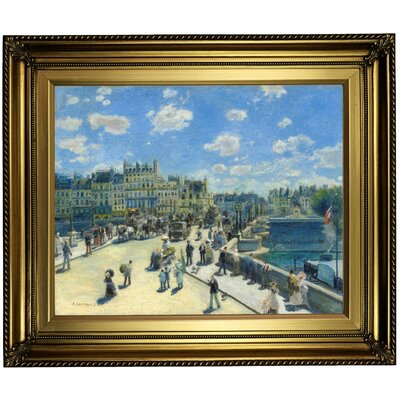 'Pont Neuf; Paris 1872' by Pierre-Auguste Renoir Framed Oil Painting Print on Canvas Format: Light Gold Framed, Size: 22