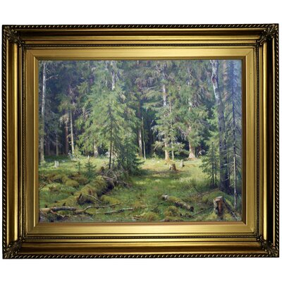 'Forest 1890' Framed Oil Painting Print on Canvas Format: Light Gold Framed, Size: 22