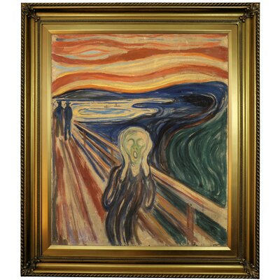 'The Scream 1910' Framed Oil Painting Print on Canvas in Gold Format: Gold Framed, Size: 30