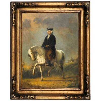 'George Washington at Mount Vernon' Framed Oil Painting Print on Canvas Format: Old Gold Framed, Size: 20.5