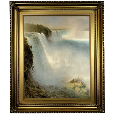 'Niagara Falls from the American side' Framed Oil Painting Print on Canvas Format: Light Gold Framed, Size: 26