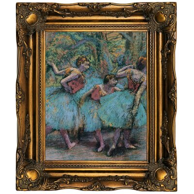 'Three Dancers (Blue Tutus; Red Bodices) 1903' Framed Oil Painting Print on Canvas Format: Dark Gold Framed, Size: 19.5