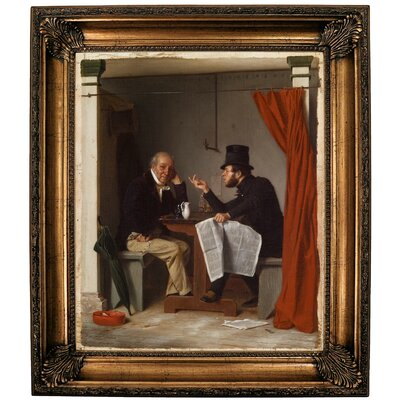 'Politics in an Oyster House 1848' Framed Oil Painting Print on Canvas Format: Bronze Framed, Size: 30.25