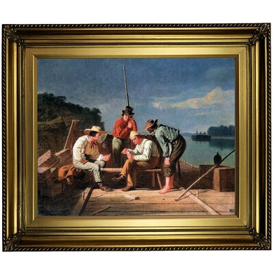 'In a Quandary or Mississippi Raftsmen at Cards 1851' Framed Oil Painting Print on Canvas Format: Light Gold Framed, Size: 22