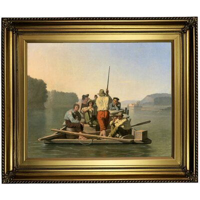 'Lighter Relieving a Steamboat Aground 1847' Framed Oil Painting Print on Canvas Format: Gold Framed, Size: 22
