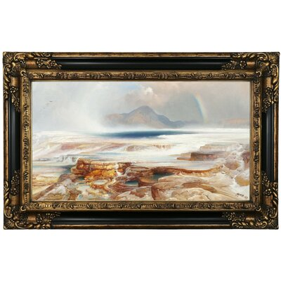 'Hot Springs of the Yellowstone' Framed Oil Painting Print on Canvas Format: Black/Gold Framed, Size: 17.25