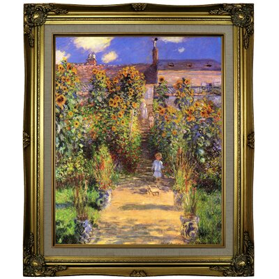 'Monets Garden in Vetheuil' by Claude Monet Framed Oil Painting Print on Canvas Format: Brown/Gold Framed, Size: 25.25