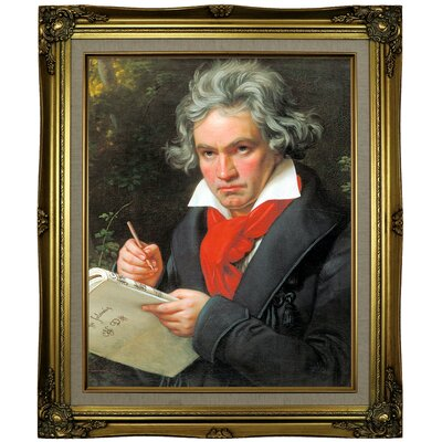 'Portrait of Ludwig van Beethoven When Composing the Missa Solemnis' Framed Oil Painting Print on Canvas Format: Brown/Gold Framed, Size: 25.25