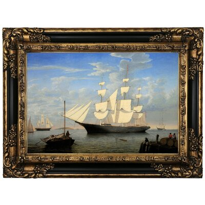 'The Ship Starlight' Framed Oil Painting Print on Canvas in Gold Format: Black Framed, Size: 17.25