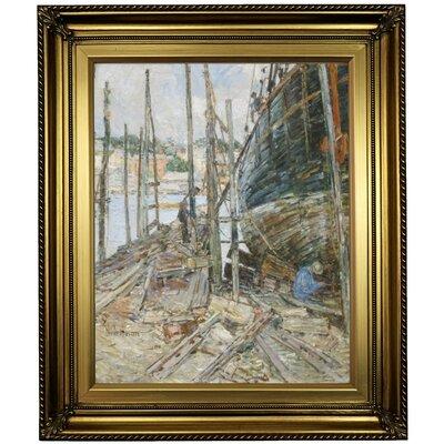 'The Caulker' Framed Oil Painting Print on Canvas Format: Light Gold Framed, Size: 26