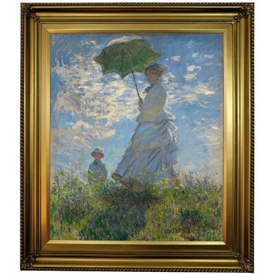 'On the Rock Cliff; Madame Monet and Her Son Jean' Framed Oil Painting Print on Canvas Format: Gold Framed, Size: 30