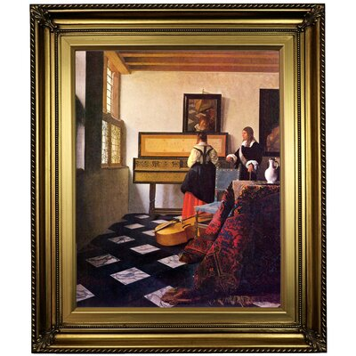 'The Music Lesson' by Johannes Vermeer Framed Oil Painting Print on Canvas in Gold Format: Light Gold Framed, Size: 26