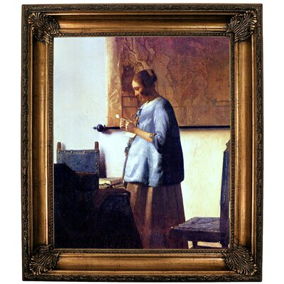 'Women in Blue Reading a Letter' by Johannes Vermeer Framed Oil Painting Print on Canvas Format: Bronze Framed, Size: 30.25