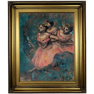 'Three Dancers in Red Costume 1896' by Edgar Degas Framed Oil Painting Print on Canvas Format: Light Gold Framed, Size: 26