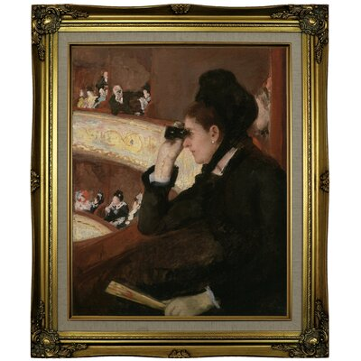 'In the Loge 1878' by Mary Cassatt Framed Oil Painting Print on Canvas Format: Brown/Gold Framed, Size: 25.25