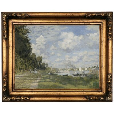 'Bassin d?Argenteuil 1872' by Claude Monet Framed Print on Canvas Format: Dark Gold Frame, Size: 16.5