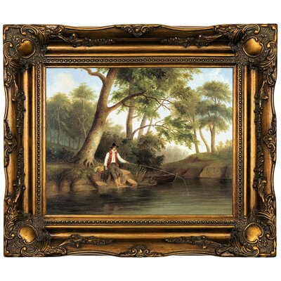 'Man Fishing 1848' Framed Oil Painting Print on Canvas Format: Bronze Framed, Size: 16.5
