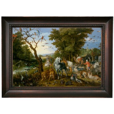 'The Entry of the Animals into Noahs Ark 1613' Framed Oil Painting Print on Canvas Format: Dark Brown Framed, Size: 15.5
