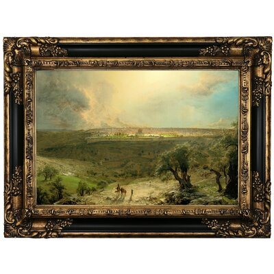 'Jerusalem from the Mount of Olives 1870 Church' Framed Oil Painting Print on Canvas Format: Black Framed, Size: 17.25