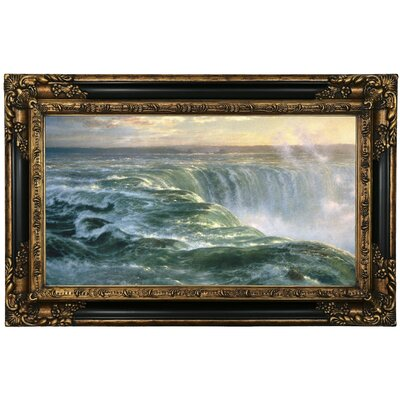'Niagara Falls 1866' Framed Oil Painting Print on Canvas Format: Black/Gold Framed, Size: 17.25