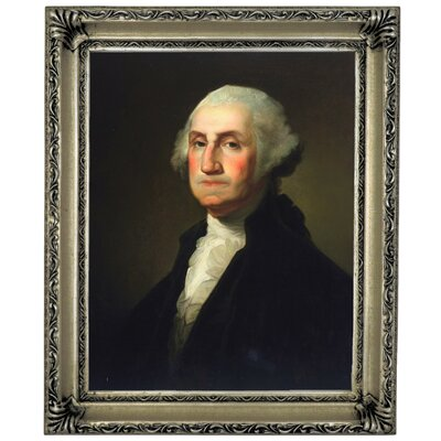'George Washington 1854' Framed Oil Painting Print on Canvas Format: Silver Framed, Size: 17