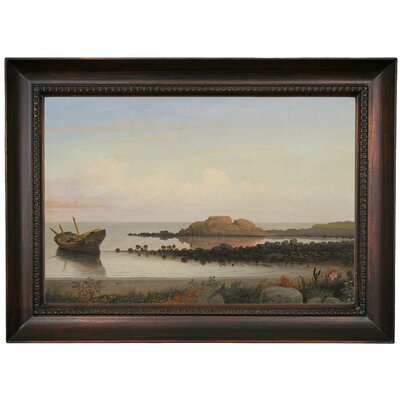 'Braces Rock, Eastern Point 1864' Framed Oil Painting Print on Canvas Format: Chocolate Framed, Size: 15.5'' H x 21.5'' W x 1.5'' D