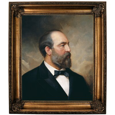 'Portrait of James Garfield; 20th President of the United States 1881' Framed Oil Painting Print on Canvas Format: Bronze Framed, Size: 30.25