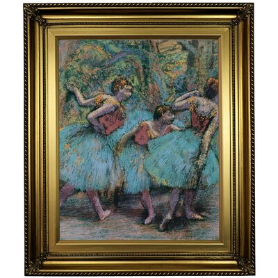 'Three Dancers (Blue Tutus; Red Bodices) 1903' Framed Oil Painting Print on Canvas Format: Light Gold Framed, Size: 26