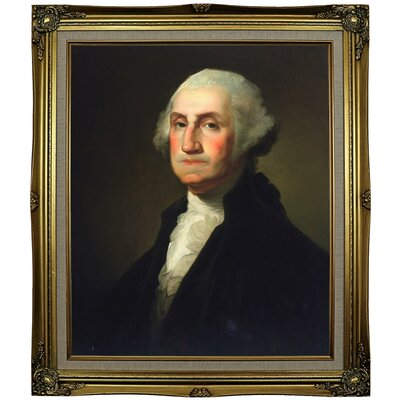 'George Washington 1854' Framed Oil Painting Print on Canvas Format: Black Gold Framed, Size: 29.25