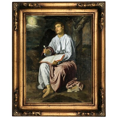 'John the Evangelist from Patmos 1619' Framed Oil Painting Print on Canvas Format: Bronze Framed, Size: 20.5