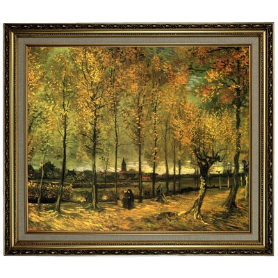 'Lane with Poplars' by Vincent van Gogh Framed Oil Painting Print on Canvas Format: Light Gold Framed, Size: 24.15