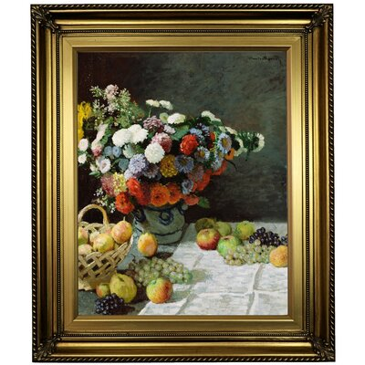 'Still Life with Flowers and Fruit 1869' by Claude Monet Framed Oil Painting Print on Canvas Format: Light Gold Framed, Size: 26