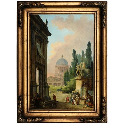 'Imaginary View of Rome with the Horse-Tamer of the Monte Cavallo and a Church 1786' Framed Oil Painting Print on Canvas Format: Antique Gold Framed, Size: 22.5