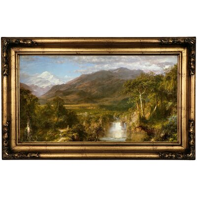 'The Heart of the Andes 1859' Framed Oil Painting Print on Canvas Format: Antique Gold Framed, Size: 16.5