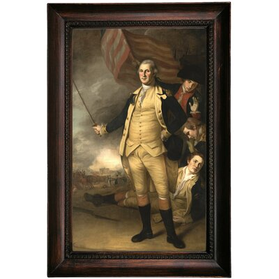 'George Washington at the Battle of Princeton 1784' Framed Oil Painting Print on Canvas Format: Dark Gray Framed, Size: 23.5