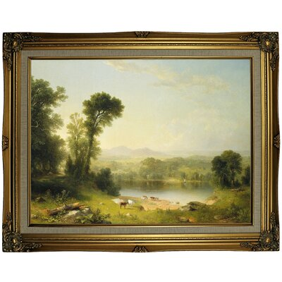 'Pastoral Landscape 1861' Framed Oil Painting Print on Canvas Format: Gold Framed, Size: 23.25