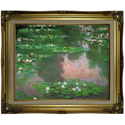 'The Water Lillie' by Claude Monet Framed Oil Painting Print on Canvas Format: Brown/Gold Framed, Size: 21.25